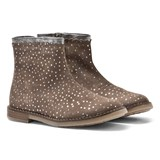 Pom D'api Beige and Silver Glitter Polkadot Ankle Boots