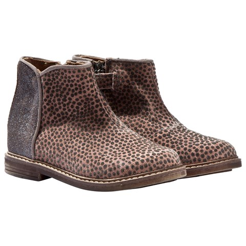 Grey Taupe Glitter and Animal Print Zip Chelsea Boots