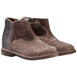 Pom D'api Grey Taupe Glitter and Animal Print Zip Chelsea Boots
