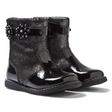 Lelli Kelly Linda Black Patent Floral Applique Zip Ankle Boots