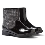 Lelli Kelly Black Patent Studded Sparkle Zip Ankle Boots