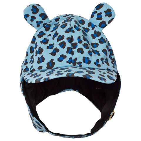 Blue Leopard Print Trapper Hat with Ears