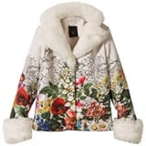 Love made Love White Floral Blazer with Faux Fur Collar and Cuffs
