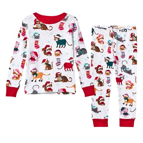 hatley christmas cat print pyjamas