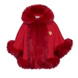 Bandits Girl Red Faux Fur Cape