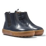 Pom D'api Navy Leather Zipped Chelsea Boots