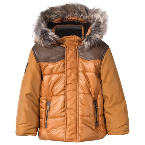 Orange Padded Coat with Faux Fur Hood