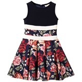 Monnalisa Navy and Rose Print Floral Neoprene Fit and Flare Dress