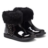 Step2wo Black Patent Jewelled Faux Fur Ankle Boots