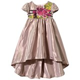 Junior Gaultier Pale Pink Floral and Stripe Dipped Hem Dress