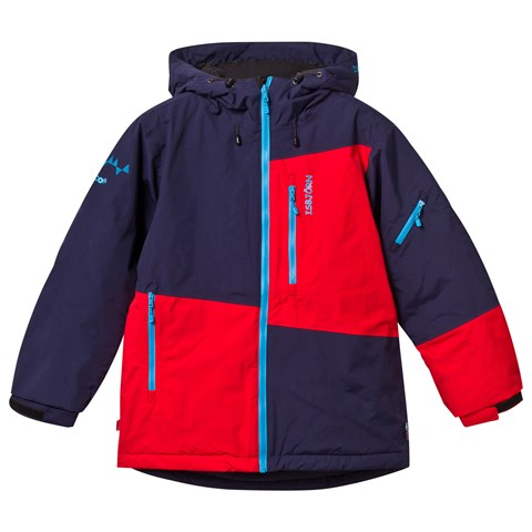 Navy and Red Colour Block OffPiste Ski Jacket