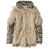 Diesel Faux Shearling and Animal Print Coat