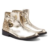 Monnalisa Gold Metallic and Glitter Zip Boots