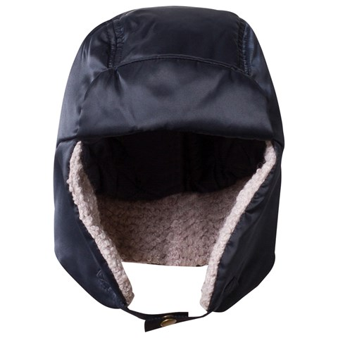 Navy Satin Branded Trapper Hat