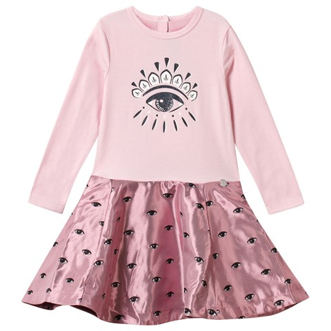 Kenzo Kids Pink Glitter Eye Print Jersey Dress with Jacquard Skirt