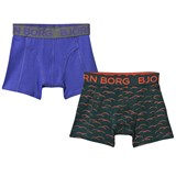 Bjorn Borg Pack of 2 Blue and Green Printed Trunks