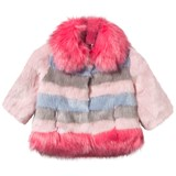 Bandits Girl Pink and Blue Stripe Faux Fur Coat