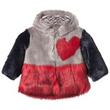 Bandits Girl Grey and Red Faux Fur Hooded Heart Coat