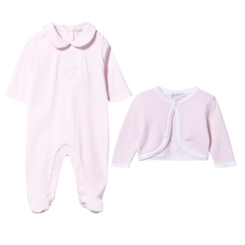 Pink Rocking Horse Babygrow and Cardigan Set
