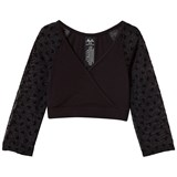 Mirella Black Bow Mesh 3/4 Sleeve Wrap Top