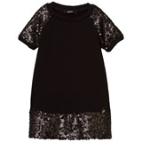 Relish Black Sequin Sleeve and Hem Dress