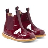 Angulus Burgundy Patent Leather Chelsea Boots