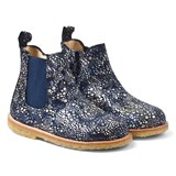 Angulus Navy Multi-Patterned Leather Chelsea Boots