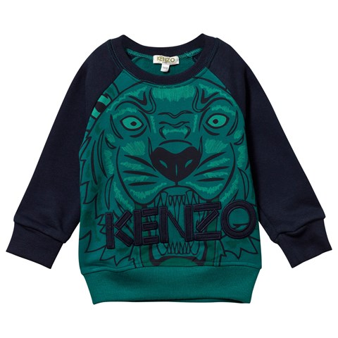 Green and Navy Raglan Large Tiger Sweatshirt