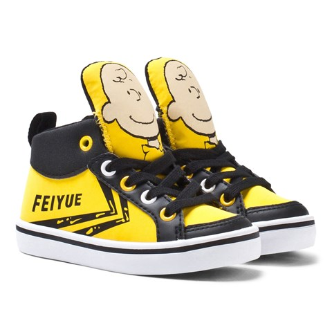 Feiyue Shoes Yellow Charlie Brown Print Hi-Top Trainers