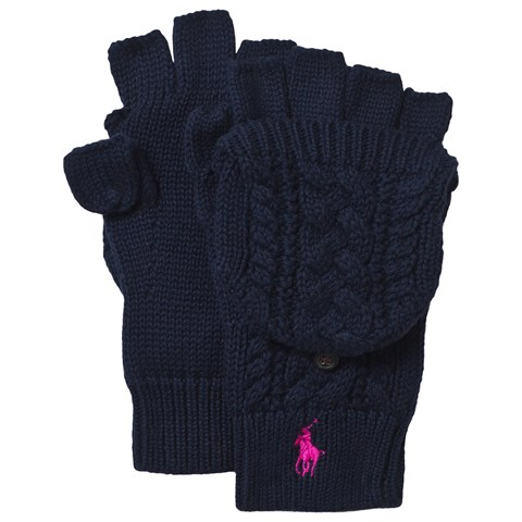 Navy Cable Knit Gloves
