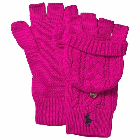 Pink Cable Knit Gloves