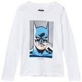 Little Eleven Paris White Batman Print Long Sleeve Tee