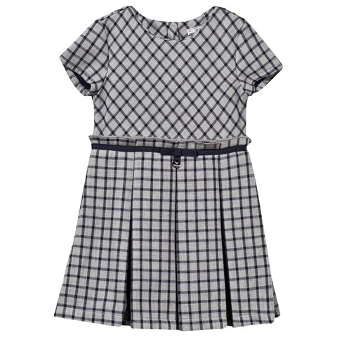 Mayoral Navy and Grey Check Pleat Skirt Dress