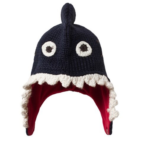 Joules Navy Shark Face Knit Hat with Fleece Lining  361759380c2