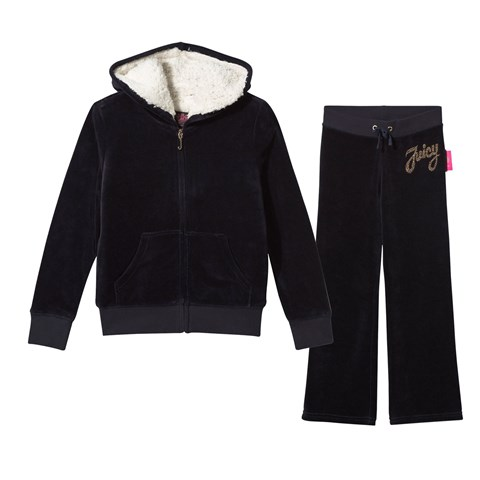 Navy Studded Script Tracksuit with Teddy Lining