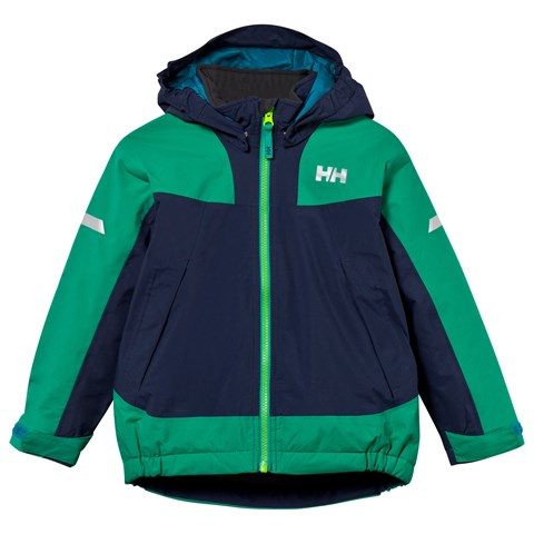 Navy and Green Kids Legacy Insulated Ski Jacket