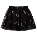 Little Eleven Paris Black Sequin Lightning Bolt Tulle Skirt