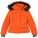 Poivre Blanc Orange Stretch Ski Jacket with Faux Fur Trim