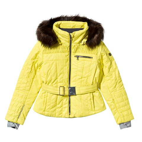 Yellow Belted Ski jacket with Faux Fur Trim