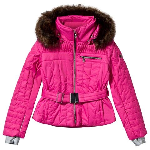 Pink Belted Ski jacket with Faux Fur Trim