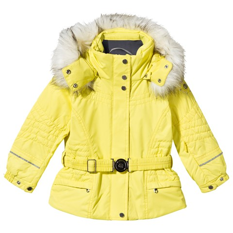Yellow Embroidered Fox Ski Jacket with Faux Fur Trim