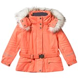 Poivre Blanc Orange Embroidered Fox Ski Jacket with Faux Fur Trim