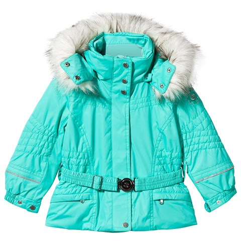 Green Embroidered Fox Ski Jacket with Faux Fur Trim