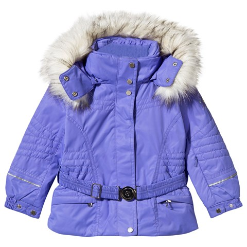 Purple Embroidered Fox Ski Jacket with Faux Fur Trims