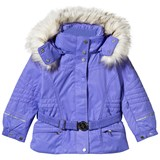 Poivre Blanc Purple Embroidered Fox Ski Jacket with Faux Fur Trims