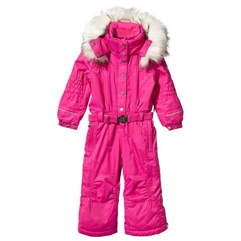 Pink Ski Suit with Faux Fur Trim