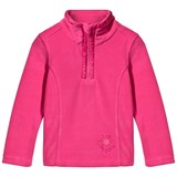 Poivre Blanc Pink Embroidered 1/2 Zip Polar Fleece Jacket