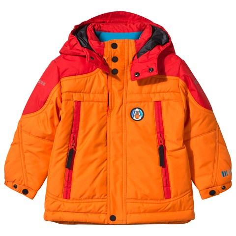 Orange and Red Embroidered Ski Jacket