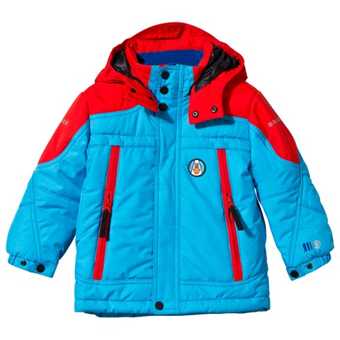 Blue and Red Embroidered Ski Jacket