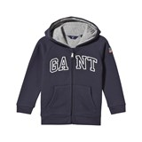 Gant Navy Embroidered Branded Hoodie